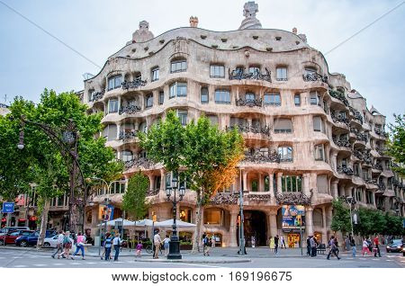 Barcelona, Spain - June 8, 2013: Casa Mila, one of the landmarks in Barcelona