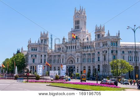 Madrid, Spain - June 4, 2013: Cibeles Palace, one of the symbols of the city of Madrid