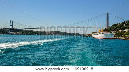 Bridge over the Bosphorus Strait, Istanbul, Turkey.