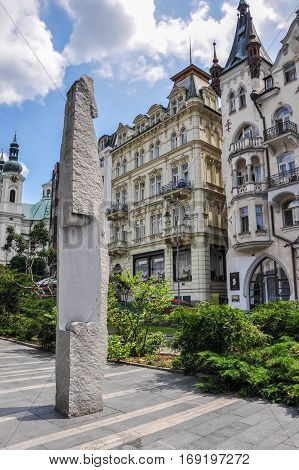 Karlovy Vary, Czech Republic - June 20, 2012 - Gagarin monument in the city of Karlovy Vary