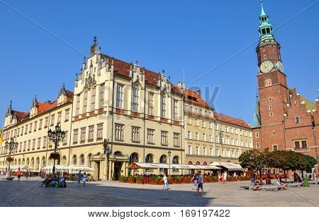 Wroclaw, Poland - June 25, 2012 City Hall on Market Square in Wroclaw