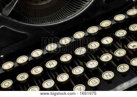 Closeup Of Old Dusty Typewriter Machine