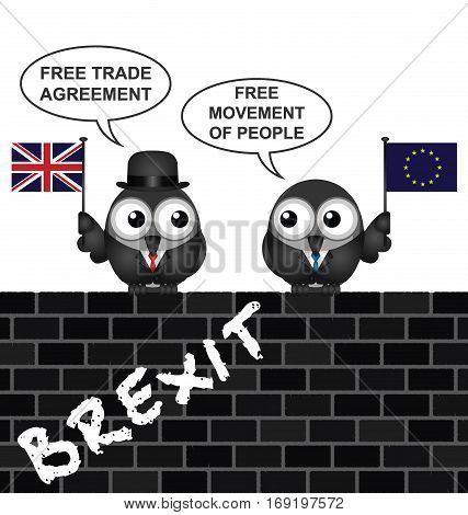 Comical United Kingdom Brexit Trade Agreement negotiations following the June 2016 referendum to exit the European Union perched on a brick wall