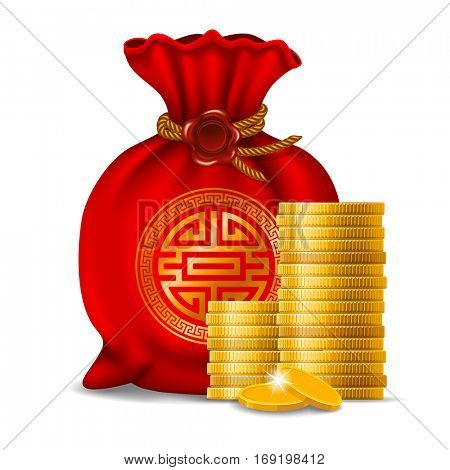Red bag for Chinese New Year and golden coins isolated on white background.