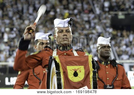 Rio Brazil - february 01 2017: Martial Band of the Marines during Botafogo (BRA) vs Colo Colo (CHI) in the Copa Libertadores of America match at the Nilton Santos Stadium (Engenhao)