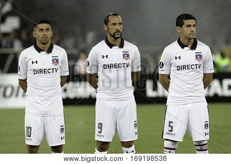 Rio Brazil - february 01 2017: Ramon Fernandez Luis Figueroa and Julio Barroso Botafogo (BRA) vs Colo Colo (CHI) in the Copa Libertadores of America match at the Nilton Santos Stadium (Engenhao)