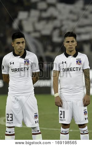 Rio Brazil - february 01 2017: Claudio Baeza and Brayan Vejar Botafogo (BRA) vs Colo Colo (CHI) in the Copa Libertadores of America match at the Nilton Santos Stadium (Engenhao)