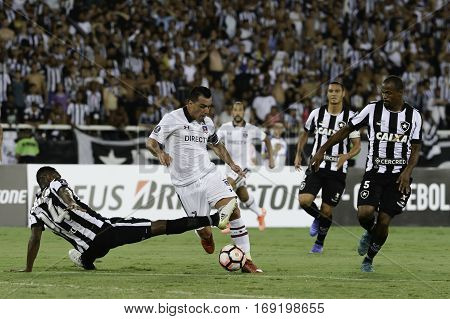 Rio Brazil - february 01 2017: Esteban Paredes and Jonas during Botafogo (BRA) vs Colo Colo (CHI) in the Copa Libertadores of America match at the Nilton Santos Stadium (Engenhao)