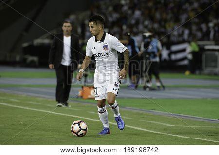 Rio Brazil - february 01 2017: Brayan Vejar during Botafogo (BRA) vs Colo Colo (CHI) in the Copa Libertadores of America match at the Nilton Santos Stadium (Engenhao)