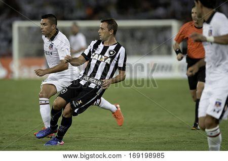 Rio Brazil - february 01 2017: Montillo during Botafogo (BRA) vs Colo Colo (CHI) in the Copa Libertadores of America match at the Nilton Santos Stadium (Engenhao)