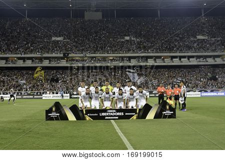 Rio Brazil - february 01 2017: Colombia Team during Botafogo (BRA) vs Colo Colo (CHI) in the Copa Libertadores of America match at the Nilton Santos Stadium (Engenhao)