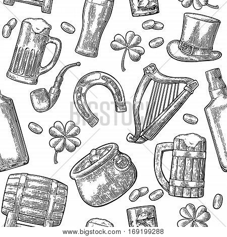 Seamless pattern Saint Patrick s Day. Top gentleman hat pot of gold coins pipe beer glass lyre horseshoe clover barrel. Vector vintage black engraved illustration isolated white background.