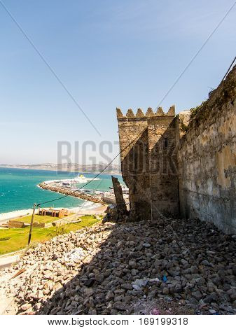 Outside the city wall of Medina in Tangier, Morocco - standing on overlooking the strait of Gibraltar