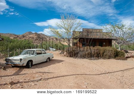 Hackberry, Arizona, USA - June 19, 2014: Old petrol station and shop with vintage cars on Route 66