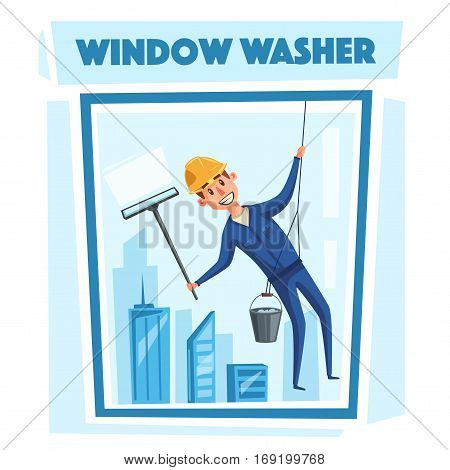Professional worker cleaning windows. Cartoon vector illustration. Skyscraper cleaning service. Window washer is cleaning high building. Man with bucket of water and scraper.