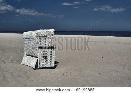 Basket on the sandy beach on the Baltic Sea island of Usedom