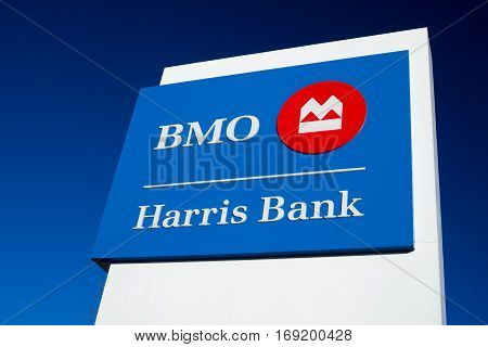 Bmo Harris Bank Exterior Sign And Logo.