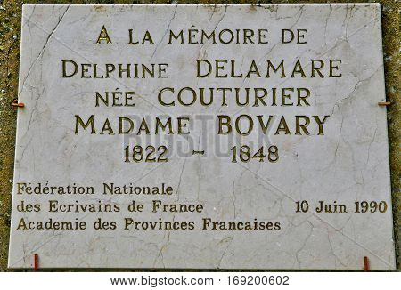 Ry France - june 23 2016 : memorial stele of Madame Bovary