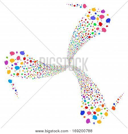 Balloon fireworks swirl rotation. Vector illustration style is flat bright multicolored iconic symbols on a white background. Object twirl made from random icons.