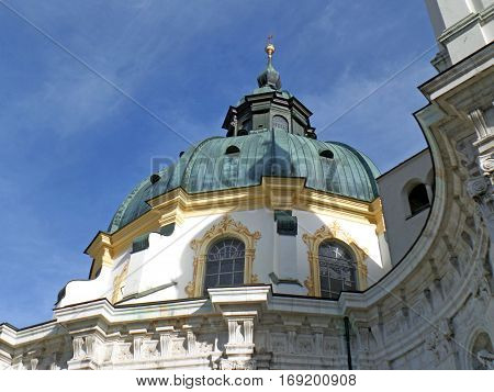 Stunning Dome of Ettal Abbey Church under Vivid Blue Sky, Garmisch-partenkirchen, Bavaria, Germany