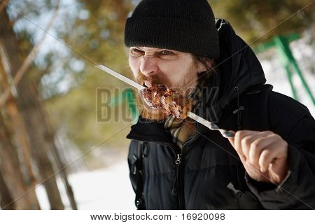 man with a barbeque