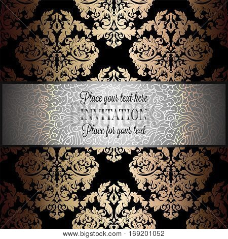 Baroque background with antique, luxury silver, black and gold vintage frame, victorian banner, damask floral wallpaper ornaments, invitation card, baroque style booklet, fashion pattern.