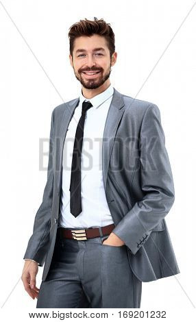 portrait of happy smiling business man, isolated on white background