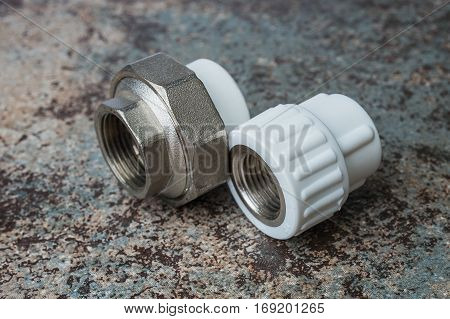 Polypropylene compounds for pipes white background Construction concept.