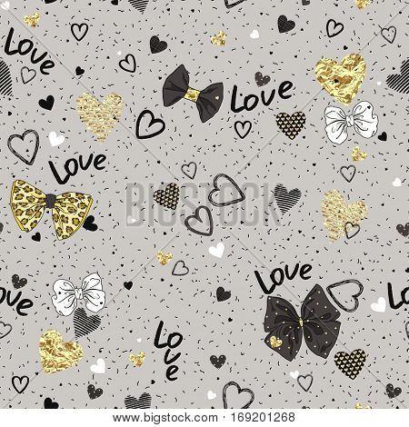 Seamless pattern of randomly distributed confetti, bows and texture hearts on for Valentine's Day. Vector holiday illustration.