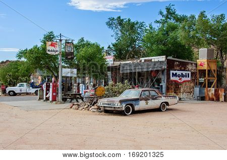 Hackberry, Arizona, USA - June 19, 2014: Old petrol station on Route 66 in Hackberry
