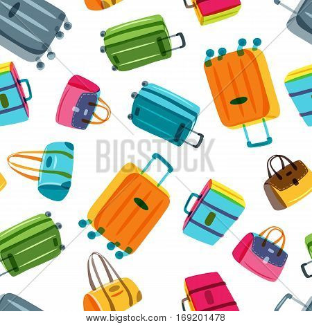 Vector Seamless Pattern With Multicolor Luggage, Suitcase, Bags. Hand Drawn Doodle Illustration.