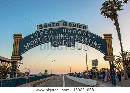 Los Angeles, USA - June 14, 2014: The main entrance to the pier in Santa Monica