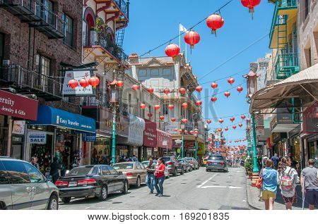 San Francisco, California, USA - June 18, 2014: China Town, the largest and most famous area of the city of San Francisco