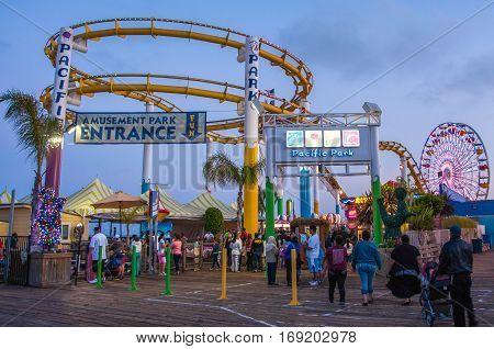 Los Angeles, USA - June 14, 2014: Amusement park on the pier in Santa Monica