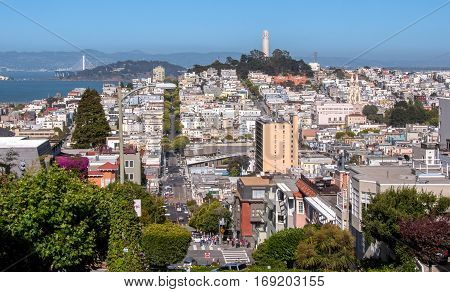 Panoramic view of the streets of San Francisco and Coit Tower, California USA