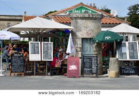 Saint Clement des Baleines France - september 26 2016 : a restaurant near the lighthouse