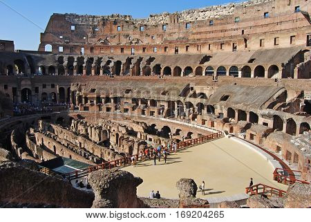 Rome, Italy - October 9, 2014. Interior view of the Colosseum in Rome, with people