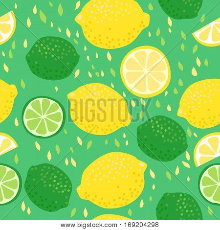 Seamless vector pattern with lemons and limes