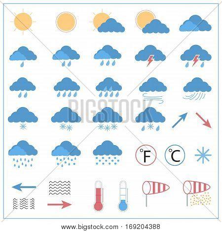 weather forecast flat icon set, meteorology icon