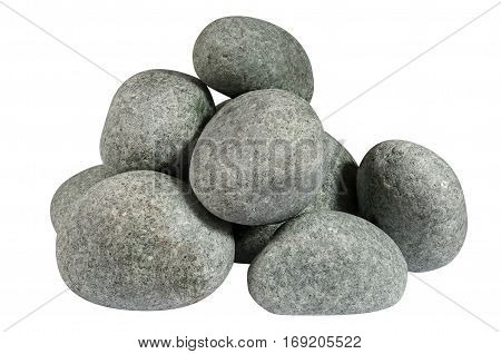 A pile of round stones isolated on white background without shadows