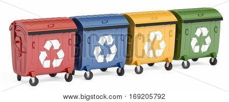 set of garbage containers 3D rendering isolated on white background