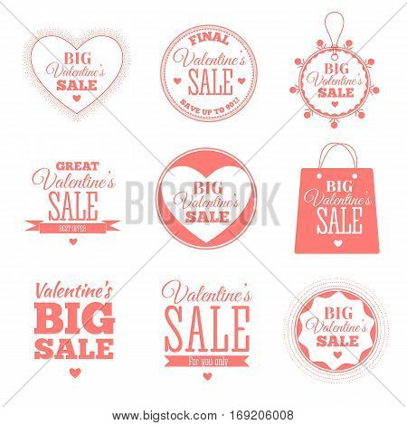 Set of Valentines day sale offers. Vector illustration in red colour with lettering on white background. Big Valentines Sale. Shop market poster design.