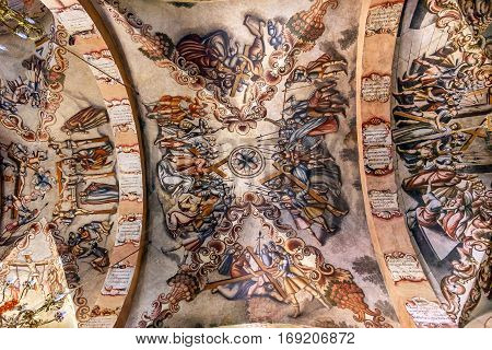 ATOTONILCO, MEXICO - DECEMBER 29, 2014 Jesus Fresco Sanctuary of Jesus Atotonilco Mexico. Built in the 1700s known as the Sistene Chapel of Mexico with Frescoes of Jesus Stories. Frescoes by Miguel Antonio Matinez between 1740 and 1775.