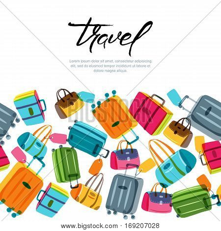 Vector Seamless Horizontal Background With Multicolor Luggage, Suitcase, Bags And Calligraphy Letter