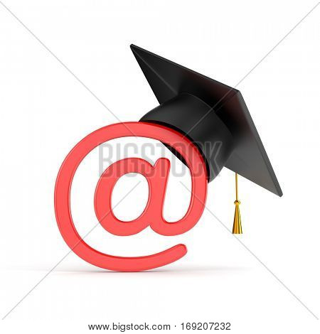 Email sign and graduation hat. 3d illustration