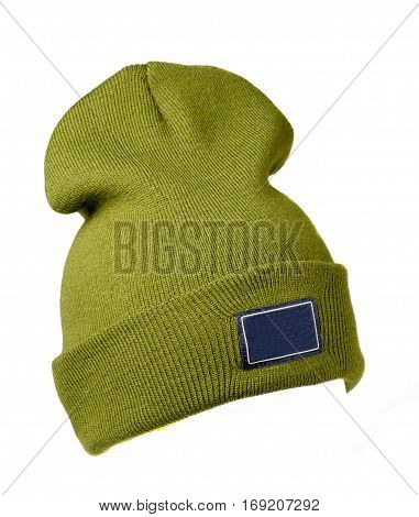Hat Isolated On White Background .knitted Hat . Green Hat