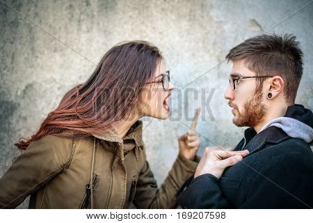 Couple having a fight on the street