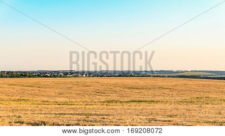 Plain landscape with a rye field and village on the horizon. Rural landscape. Belgorod region Russia.