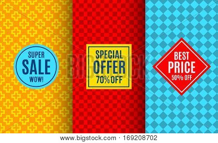 Super sale label tag. Bright seamless pattern background. Vector illustration for special price offer sticker design. Abstract geometric frame coupon. Bright label set. Colorful geometric ornament