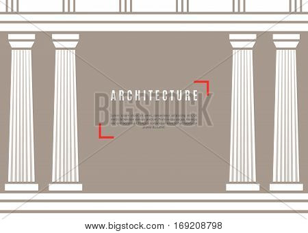Architecture greek temple on brown background. Vector illustration flat architecture design.